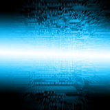 Abstract blue electronic circuit. A flash of light on the flowsheet royalty free illustration