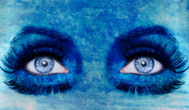 Abstract blue eyes makeup woman grunge texture royalty free stock photography