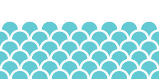 Abstract blue fishscale horizontal seamless Royalty Free Stock Images