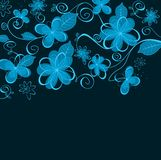 Abstract blue floral design Royalty Free Stock Images