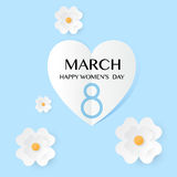 Abstract Blue Floral Greeting card - International Happy Women s Day - 8 March holiday background Royalty Free Stock Image