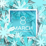 Abstract blue Floral Greeting card - International Happy Women's Day - 8 March holiday Stock Images
