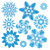 Abstract blue floral ornament collection. Over white background Royalty Free Stock Photos