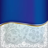 Abstract blue floral ornament on a white. Background Stock Images