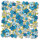 Abstract blue floral ornament on white Stock Photo
