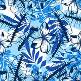 Abstract blue flower pattern. Seamless pattern with palm leaves and flowers in blue shades, abstract floral background Stock Photography