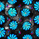 Abstract blue flowers on a black background seamless pattern grunge texture. (vector eps 10 Royalty Free Stock Photo