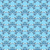 Abstract blue flowers on blue background seamless pattern vector illustration Stock Images