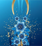 Abstract blue flowers on grunge background. Vector illustration Royalty Free Stock Images