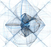 Abstract Blue Fractal X. Abstract blue fractal divided into sections by two lines forming an X Stock Photos