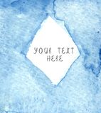 Abstract blue  frame on textured watercolor paper. Stock Image