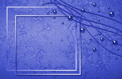 Abstract blue framework with bubbles and curles Stock Images