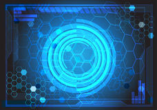 Abstract blue futuristic display circle ring light on hexagon pattern graphic design modern creative idea background vector. Abstract blue futuristic display Stock Image