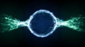 Abstract blue futuristic sci-fi plasma circular form with energy light strokes stock illustration