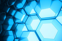 Abstract blue of futuristic surface hexagon pattern, hexagonal honeycomb with light rays, 3D Rendering Stock Photography