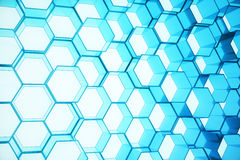Abstract blue of futuristic surface hexagon pattern, hexagonal honeycomb with light rays, 3D Rendering. Abstract blue of futuristic surface hexagon pattern Stock Photos