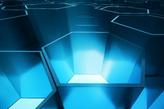 Abstract blue of futuristic surface hexagon pattern, hexagonal honeycomb with light rays, 3D Rendering Royalty Free Stock Photography