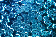 Abstract blue of futuristic surface hexagon pattern, hexagonal honeycomb with light rays, 3D Rendering. Abstract blue of futuristic surface hexagon pattern Stock Image