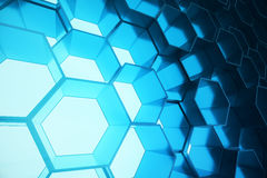 Abstract blue of futuristic surface hexagon pattern, hexagonal honeycomb with light rays, 3D Rendering Royalty Free Stock Images