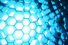 Abstract blue of futuristic surface hexagon pattern, hexagonal honeycomb with light rays, 3D Rendering. Abstract blue of futuristic surface hexagon pattern Royalty Free Stock Photo