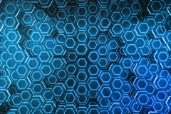 Abstract blue of futuristic surface hexagon pattern, hexagonal honeycomb with light rays, 3D Rendering. Abstract blue of futuristic surface hexagon pattern Royalty Free Stock Images