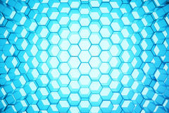 Abstract blue of futuristic surface hexagon pattern, hexagonal honeycomb with light rays, 3D Rendering. Abstract blue of futuristic surface hexagon pattern Royalty Free Stock Photos