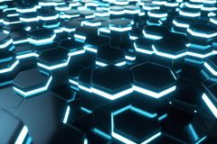 Abstract blue of futuristic surface hexagon pattern with light rays, 3D Rendering. Abstract blue of futuristic surface hexagon pattern with light rays. 3D Royalty Free Stock Photos