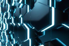 Abstract blue of futuristic surface hexagon pattern with light rays, 3D Rendering. Abstract blue of futuristic surface hexagon pattern with light rays. 3D Stock Image