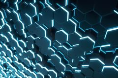 Abstract blue of futuristic surface hexagon pattern with light rays, 3D Rendering. Abstract blue of futuristic surface hexagon pattern with light rays. 3D Royalty Free Stock Images