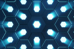 Abstract blue of futuristic surface hexagon pattern with light rays, 3D Rendering Stock Image
