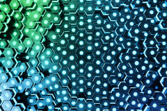Abstract blue of futuristic surface hexagon pattern with light rays, 3D Rendering Royalty Free Stock Images