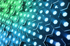 Abstract blue of futuristic surface hexagon pattern with light rays, 3D Rendering Royalty Free Stock Image