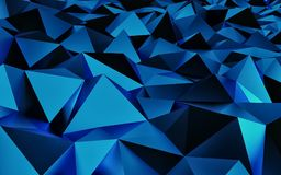 Abstract blue geometric background. Gold texture with shadow. 3D render. Ing Stock Photo