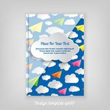 Abstract blue geometric cover design with pattern of paper airpl. Anes with clouds, Brochure Design. Cover, Corporate Leaflet Template vector illustration