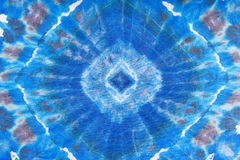 Abstract blue geometric ornament on silk batik Stock Image