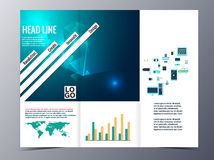 Abstract blue geometric pattern brochure design template vector Royalty Free Stock Photography