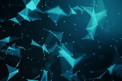 Abstract blue geometrical plexus on black background with lines. And dots royalty free illustration