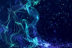 abstract blue geometrical plexus flowing movement on black background with lines and dots stock photo