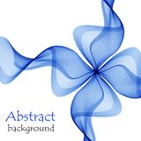 Abstract blue gift bow made of transparent ribbons. On a white background Stock Images