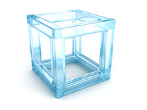 Abstract blue glass 3d cube with shadow. 3d render illustration Royalty Free Stock Photo