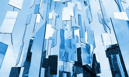 Abstract blue glass mirrors background. Above the sky royalty free stock photo