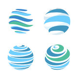 Abstract blue global planet stripped vector logos template set. Rotating blue strips, circular planet in motion around Stock Photography