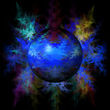 Abstract Blue Globe. Blue color globe on a fractal background Stock Photos