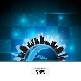 Abstract blue globe urban and silhouette city innovation concept banner Stock Images