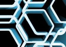 Abstract blue glossy honeycomb structure. Background, 3d render illustration Royalty Free Stock Photo