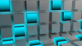Abstract blue glow cube background 3d. Abstract background with cube and blue glow glowing technology wallpaper texture Royalty Free Stock Image