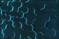 Abstract blue glowing of futuristic surface hexagon pattern. 3D Rendering. Abstract blue glowing of futuristic surface hexagon pattern, 3D Rendering Royalty Free Stock Photos