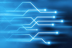 Abstract blue glowing trail lines technology background Stock Photography