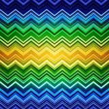 Abstract Blue, Green And Yellow Zig-zag Warped Stock Photography