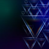 Abstract blue green background with shining multicolored triangl. Es and lights Royalty Free Stock Photos
